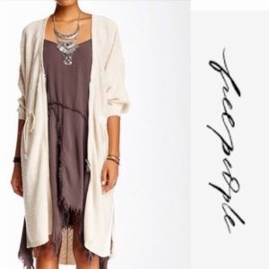 Free people long cardigan duster sweater cotton